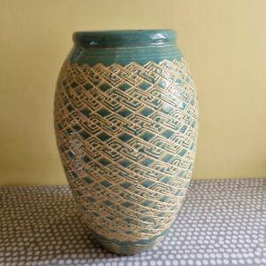 Large Patterned Ceramic Vase. 33.5cm Tall