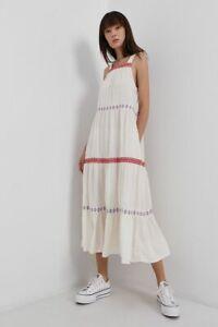 Superdry Sleeveless Embroidery Dress - Buttercream, W8010781A - BNWT