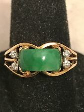 Vintage 14K Apple Green Jade Ring with Diamond Accents    Size 6.5+