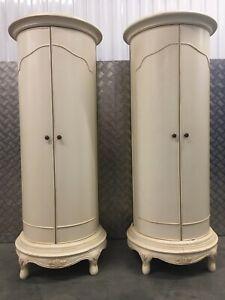 Willis & Gambier Ivory/cream French Tallboy bedside cabinet kitchen larder -Pair