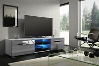 Tenus meuble TV design 140 cm Blanc Noir Effet Chêne LED bleue optionnelle