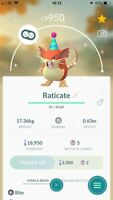 Pokemon Go SHINY RATICATE PARTY HAT Level 13 Account BAN/HACK FREE!