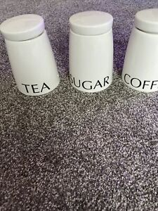 Tea Coffee Sugar Canisters Set White Kitchen Storage Stylish Ceramic New In Box