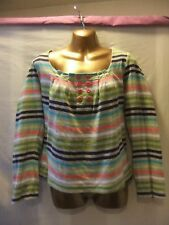LADIES Next 14 MULTI COLOUR STRIPES STRETCH/FEATURE FRONT/LONG SLEEVE/CASUAL TOP