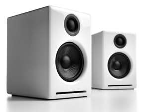 Audioengine A2+ speakers wireless 60w 24bit DAC aptx Bluetooth Gloss White new