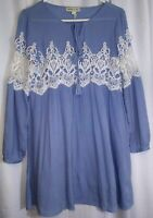 Tassels N Lace Blue Boho Peasant Blouse with White Lace Tunic Top Women's Size 8