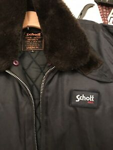Mens Schott Navy Blue Security Vintage Jacket Coat, size XL Immaculate  56 Chest