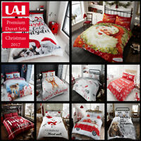 FATHER CHRISTMAS TREE SANTA CLAUS REINDEER SNOWMAN QUILT DUVET COVER BEDDING SET