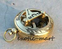 "Shiny Brass Sundial Push Button Compass Maritime Vintage Pocket Compass Gift 2"""