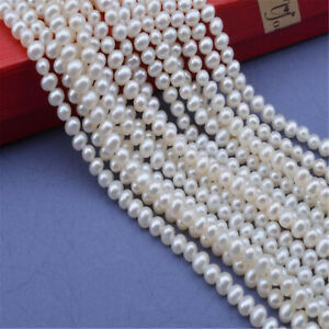 1pcs 3-4MM Natural Freshwater rice pearl Loose bead 15.5 inches Women Jewelry