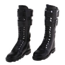1/6 talon plat femme genou bottes chaussures en cuir PU pour 12inch DID