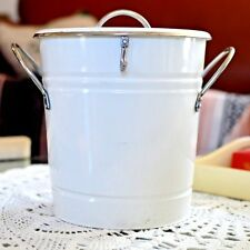 White Galvanized Metal Farm House Enamel Party Ice Bucket Shabby Country Chic