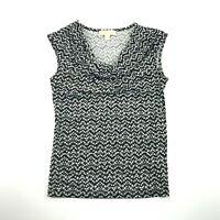 Michael Kors Womens Black White Print Scoop Neck Sleeveless Career Blouse S