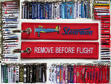 Keyring Boeing STEARMAN PT-17 Remove Before Flight tag keychain pilot Biplane