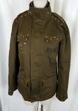 Blac Label Punk Army Green Studded Embroidered Jacket Coat Gothic Rock Mens M