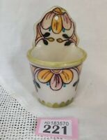 Vintage Continental Pottery Wall Pocket Holds Garlic/Kitchen Items Hand Painted