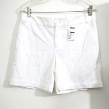 "Chaps White Cotton Stretch Womens Shorts Size 6 Waist 32 Inseam 6"""