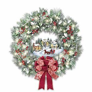 The Bradford Exchange Thomas Kinkade Musical Christmas Village Wreath Lights Up