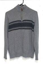 Eddie Bauer Mens Grey 100% Cotton Long Sleeve 1/4 Zip Pullover Sweater Medium M
