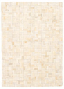 """Genuine Cowhide Patchwork Carpet 5'6"""" x 7'9"""" Ivory Leather Area Rug"""