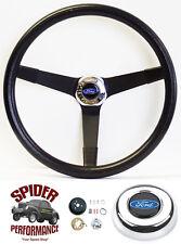 "1970-1977 Ford pickup steering wheel BLUE OVAL 14 3/4"" VINTAGE BLACK Grant"
