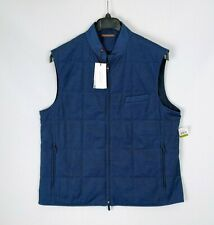 NEW LUCIANO BARBERA Quilted Blue Melange Sport Outer Vest XL EU54/US44 NWT