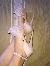 Scarpe donna eleganti con strass, color cipria, spuntate, N.40, tacco 15