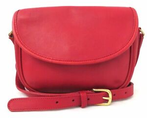 Vintage Coach 7942 Red Leather Crossbody Bag Purse
