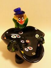 Large Murano mid century art glass clown ashtray milefiori bowl trinket dish