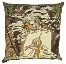 "NEW ALPHONSE MUCHA ""WINTER / HIVER"" 18"" BELGIAN TAPESTRY CUSHION COVER c791"