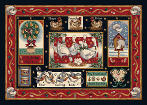 """2x4 Milliken Partridge In A Pear Tree Christmas Area Rug - Approx 2'8""""x3'10"""""""