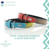 Designer Leather Dog Collar Premium Quality Genuine Cowhide | Hunter Duo Colour