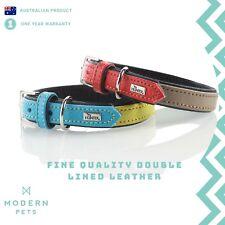 Designer Leather Dog Collar Premium Quality Genuine Cowhide | Hunter Duo Colour