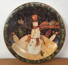 "Vintage Certified International Susan Winget Christmas Snowman 8"" Dessert Plate"