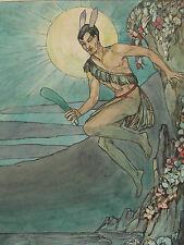 Maori Warrior With Greenstone Mere - c.1930's Superb Original Watercolour