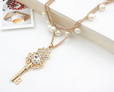 .Joovaa New Fashion Pearl Crystal Key Long Statement Chain Necklace Pendant