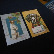 Lot of 2 vintage seasons greetings dog postcard - circa 1907