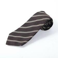 """Kiton Napoli Brown Striped 7-Fold 100% Silk Necktie Tie, 62"""" Length"""