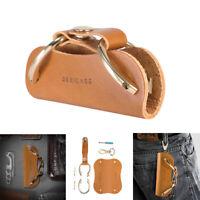 Orange Portable Leather Key Wallet Holder Organizer Zipper Car Keyring Key Chain