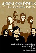 Goo Goo Dolls / Matchbox Twenty 2013 Hershey Concert Tour Poster- Alt.Rock Music