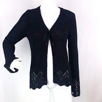 BCBG MAXAZRIA Womens M Black Open Knit Scalloped Edge Button Cardigan Sweater
