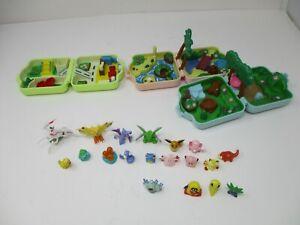 Lot Of 3 Vintage Pokémon Polly Pocket Playsets & 19 Mini Pokémon