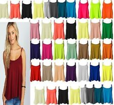 New Womens Ladies Plain Swing Vest Sleeveless Top Strappy Cami  all Sizes Flared