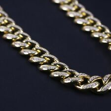 925 Sterling Silver Gold Plated Cuban Mens Bracelet with CZ Stones