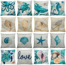 "Throw Pillow Cover Teal Blue Linen Ocean Decorative Cushion Case 18x18"" Outdoor"