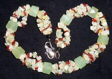 Chinese Beaded Necklace Prehnite and Carnelian Agate Sterling Silver