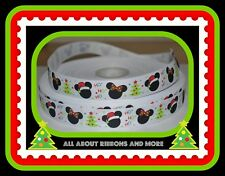 "7/8"" MICKEY AND MINNIE CHRISTMAS HO HO HO WHITE GROSGRAIN RIBBON  - 1 YARD"