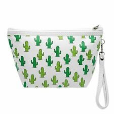kleine Schminktasche Aufbewahrung Make Up Kulturtasche Kosmetik Kaktus grün weiß