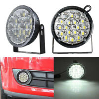 2PCS 18 LED DRL Round Car Fog Light Driving Daytime Light Bright White Spotlight
