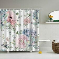 Pink Green Floral Leaf Design Shower Curtain + 12 Hooks Waterproof